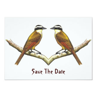 Save Date: Two Kiskadee Birds Facing Each Other 5x7 Paper Invitation Card