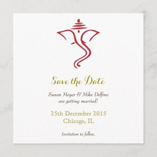 save date wedding red gold ganpati ganesh hindu save the date