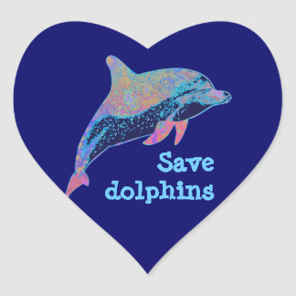 save dolphins heart sticker