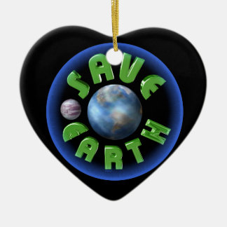 Save Earth by Valxart.com Double-Sided Heart Ceramic Christmas Ornament