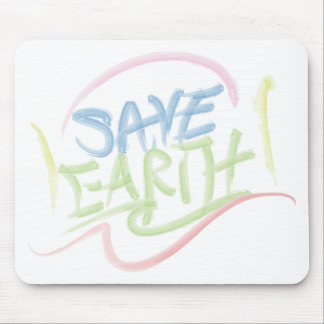 Save Earth - Child s Art - Water Color Mousepads