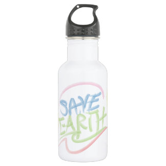 Save Earth! - Child's Art - Water Color 18oz Water Bottle