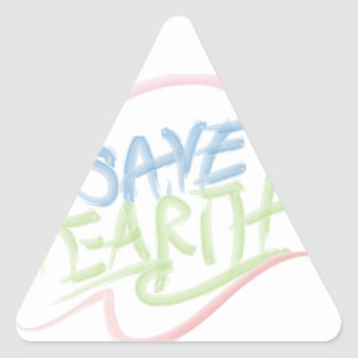 Save Earth! - Child's Art - Water Color Triangle Sticker