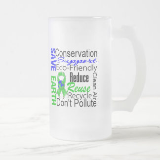Save Earth Environment Awareness Collage Frosted Glass Beer Mug