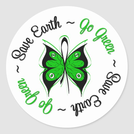 Save Earth Go Green Butterfly Stickers