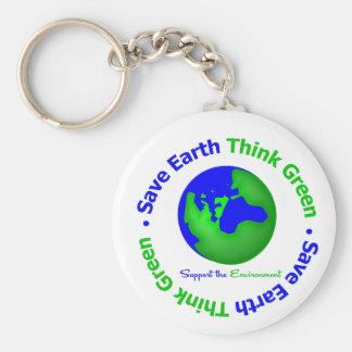 Save Earth Go Green Globe Key Chains
