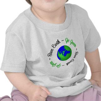 Save Earth Go Green Globe Tee Shirts