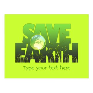 Save Earth Logotext Postcard & Greeting Card