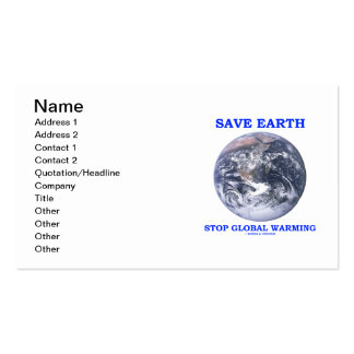 Save Earth Stop Global Warming (Blue Marble Earth) Double-Sided Standard Business Cards (Pack Of 100)