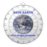 Save Earth Stop Global Warming (Blue Marble Earth) Dartboards