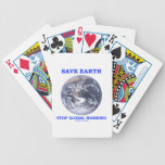 Save Earth Stop Global Warming (Blue Marble Earth) Bicycle Poker Cards