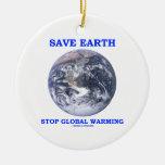 Save Earth Stop Global Warming Christmas Ornament