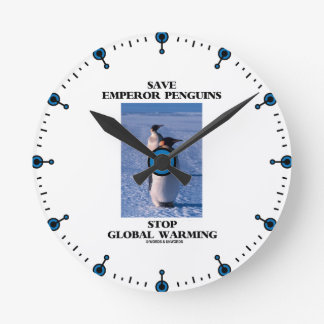 Save Emperor Penguins Stop Global Warming Round Clock