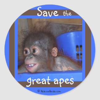 Save Endangered Great Apes Classic Round Sticker