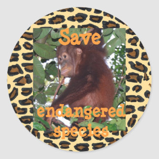 Save Endangered Species Wildlife Classic Round Sticker