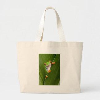 Save eyed tree frog large tote bag