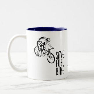Save Fuel Biking Two-Tone Coffee Mug