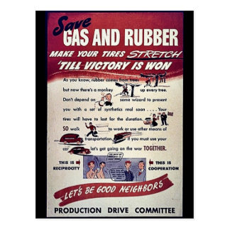 Save Gas And Rubber Postcard