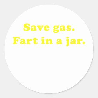 Save Gas Fart In a Jar Classic Round Sticker