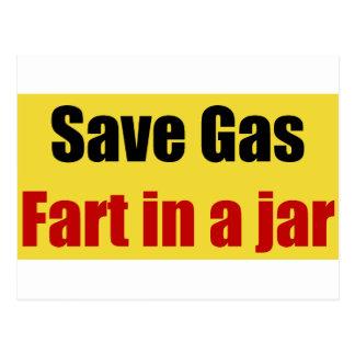 Save Gas Fart In A Jar Postcard