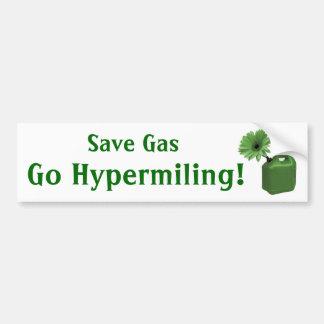 Save Gas, Go Hypermiling! Car Bumper Sticker