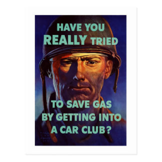 Save Gas - WW2 Postcard