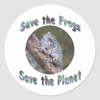 Save Gray Treefrogs Classic Round Sticker