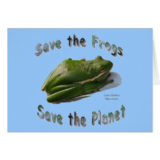 Save Green Treefrogs Greeting Card