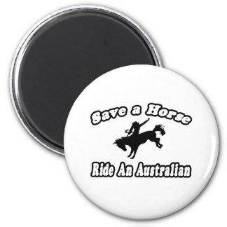 Save Horse, Ride Australian 2 Inch Round Magnet