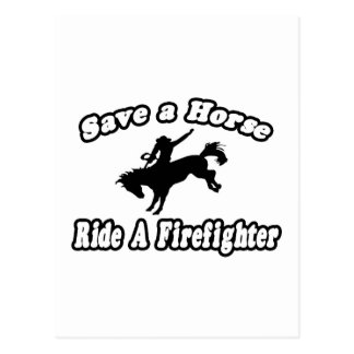 Save Horse Ride Firefighter Post Cards