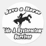 Save Horse, Ride Hysterectomy Survivor Round Stickers