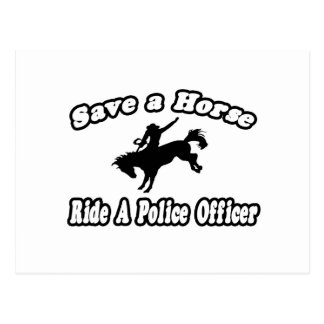 Save Horse, Ride Police Officer Postcard
