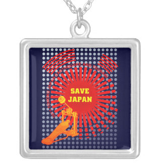 SAVE JAPAN with MUSIC Square Pendant Necklace