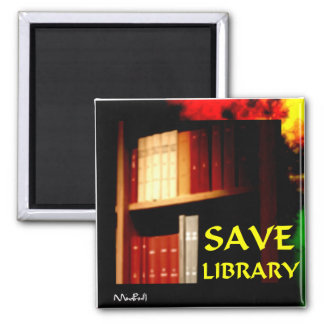 Save Library 2 Inch Square Magnet