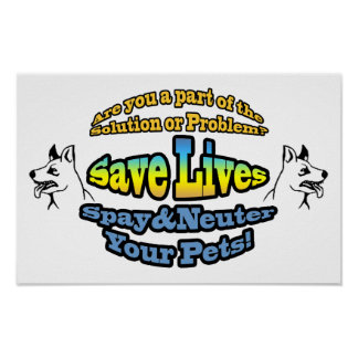 Save Lives Spay & Neuter Your Pets! Poster
