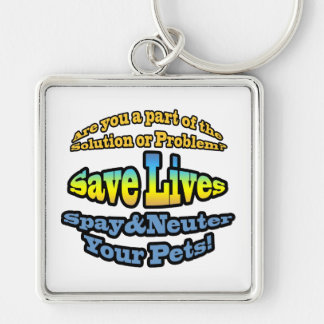 Save Lives Spay & Neuter Your Pets! Silver-Colored Square Keychain