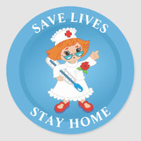 Save Lives Stay Home Classic Round Sticker