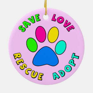 Save Love Rescue Adopt Double-Sided Ceramic Round Christmas Ornament