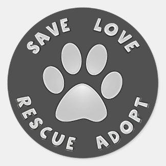 Save Love Rescue Adopt Round Sticker