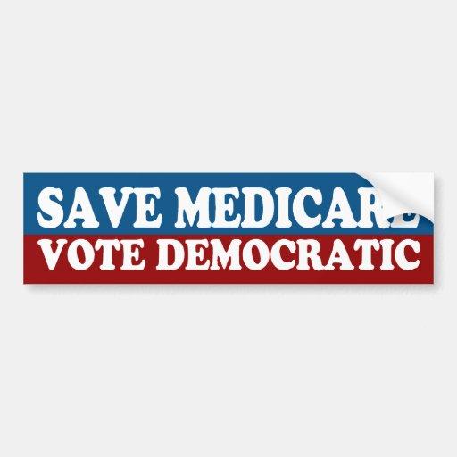 Save Medicare, Vote Democratic Bumper Sticker Car Bumper Sticker