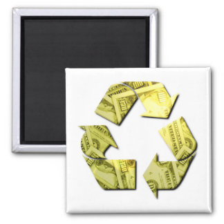 Save Money Recycle Square Magnet Refrigerator Magnets