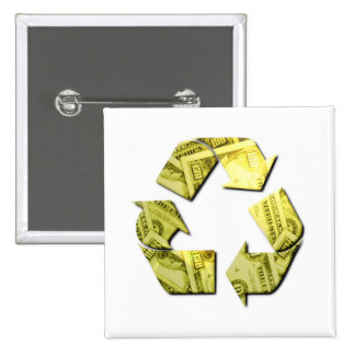 Save Money Recycle Square Pin
