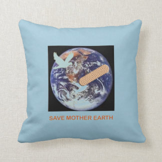Save Mother Earth Cotton Throw Pillow
