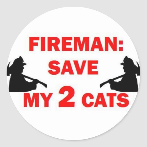 Save My 2 Cats Fireman Stickers