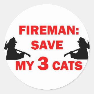 Save My 3 Cats Fireman Classic Round Sticker