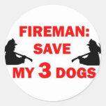 Save My 3 Dogs Fireman Sticker
