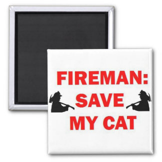 Save My Cat Fireman 2 Inch Square Magnet
