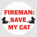 Save My Cat Fireman Round Stickers