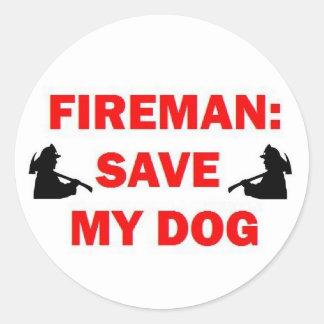 Save My Dog Fireman Classic Round Sticker