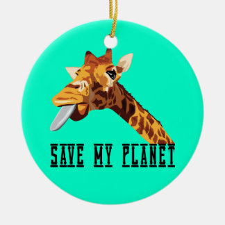Save My Planet Giraffe Double-Sided Ceramic Round Christmas Ornament